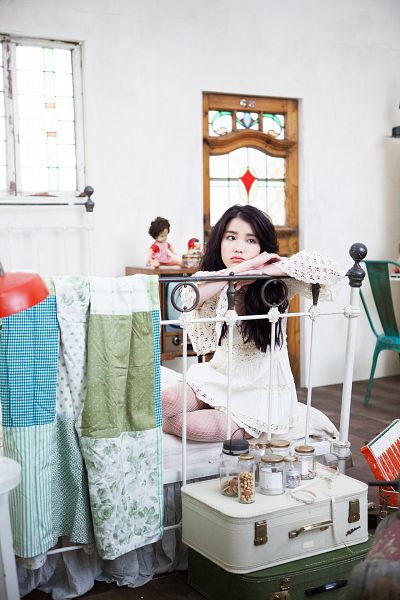 Tags: K-Pop, IU, Window, Looking Away, Bare Legs, Door, White Outfit, Bed, Fishnets, White Dress, On Bed, Android/iPhone Wallpaper