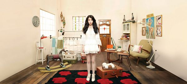Tags: K-Pop, IU, Couch, Door, Light Background, Boots, Bed, White Background, Clock, White Dress, White Footwear, Window