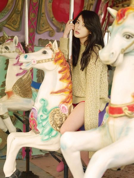 Tags: K-Pop, IU, Amusement Park, Bare Legs, Brown Shirt, Shorts, Horse, Sweater, Red Shorts, Animal, Carousel, Toy