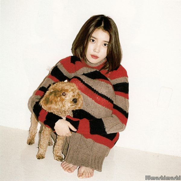Tags: K-Pop, IU, Sitting, Leg Hug, Hug, Stuffed Animal, Striped Shirt, Striped, Bent Knees, Self Hug, Modern Times