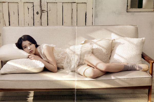 Tags: K-Pop, Good Day, IU, Shoes, Ballet Shoes, White Outfit, Socks, Pillow, Couch, Ballet, White Dress, Laying Down