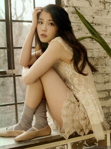 Tags: K-Pop, Good Day, IU, Shoes, Leg Hug, Window, Hug, Suggestive, Ballet, White Outfit, Self Hug, White Dress