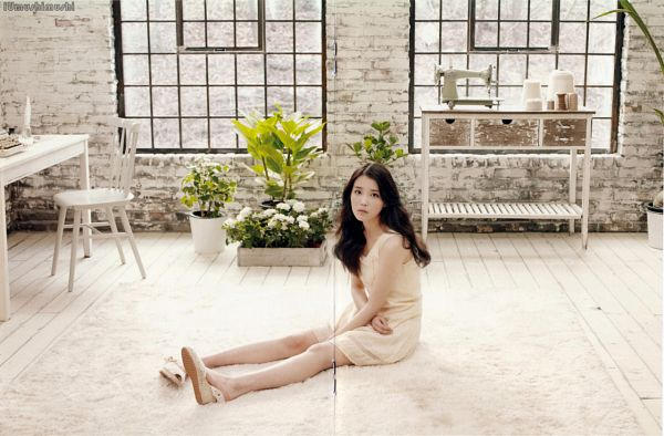 Tags: K-Pop, Good Day, IU, Table, White Outfit, Plant, Full Body, White Dress, Window, Chair