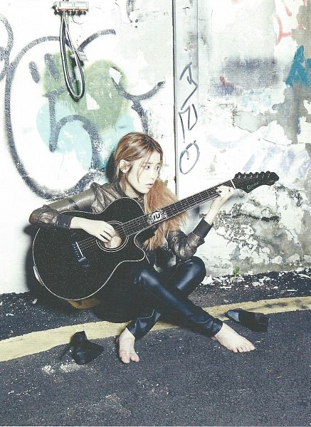 Tags: K-Pop, IU, Black Pants, Guitar, Sitting On Ground, Hair Up, Musical Instrument, Ponytail, Shoeless, Barefoot, Playing Instrument, Road