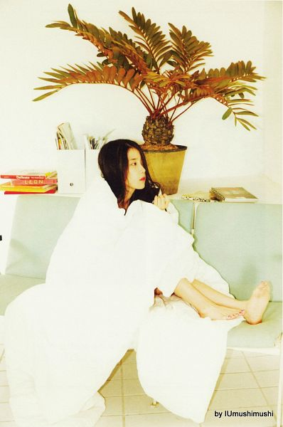 Tags: K-Pop, IU, Blanket, Bent Knees, Plant, Sitting, Book, Barefoot, Chat-shire, Android/iPhone Wallpaper