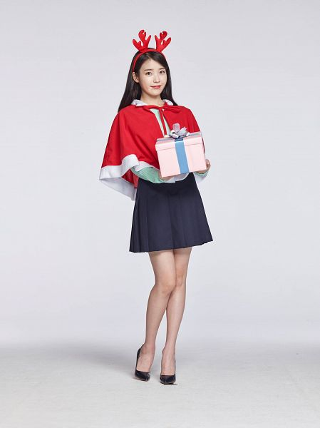 Tags: K-Pop, IU, Blue Skirt, Full Body, Gray Background, Skirt, Capelet, Horns, Gift, Antlers, Cable TV, Android/iPhone Wallpaper