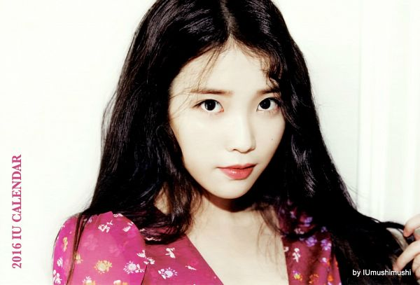 Tags: K-Pop, IU, English Text, Pink Outfit, Pink Dress, Red Lips, Text: Artist Name, IU 2016 Calendar