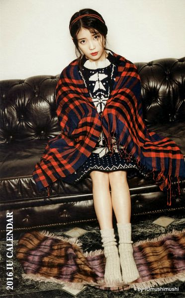 Tags: K-Pop, IU, Hair Up, Red Lips, Carpet, Sitting On Couch, Plaided Print, Android/iPhone Wallpaper, IU 2016 Calendar