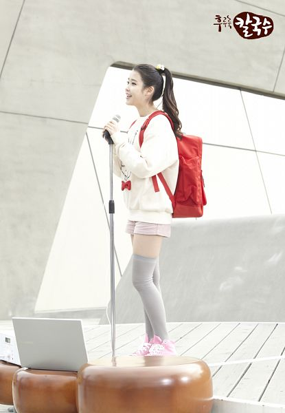 Tags: K-Pop, IU, Computer, Ponytail, Sweater, Backpack, Bag, Shorts, Thigh Highs, Stage, Nongshim Noodles