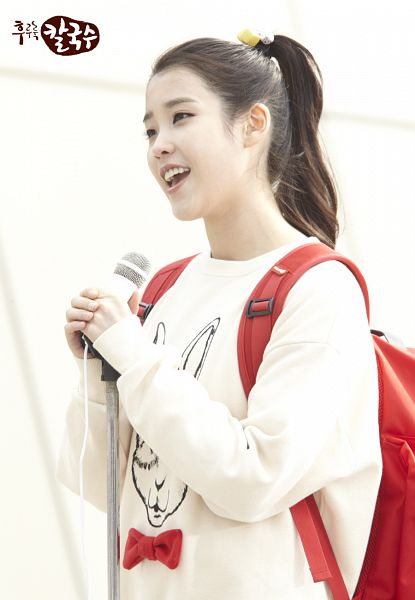 Tags: K-Pop, IU, Ponytail, Bag, Backpack, Korean Text, Singing, Sweater, Nongshim Noodles