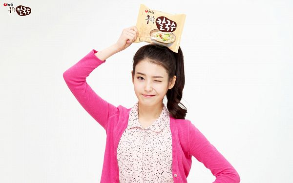 Tags: K-Pop, IU, Ponytail, Light Background, Spotted, White Background, Spotted Dress, Wink, Pink Outerwear, Side Tail, Korean Text, Nongshim Noodles