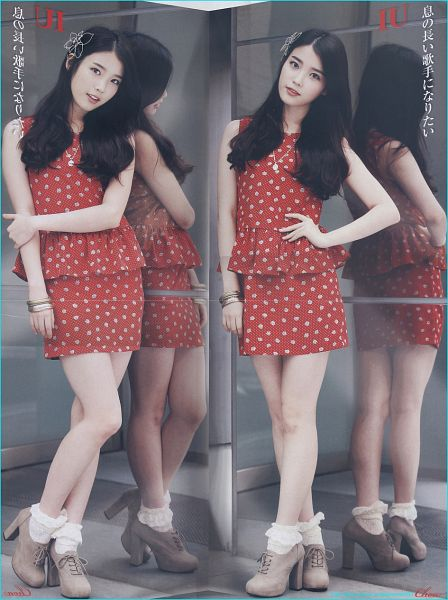 Tags: K-Pop, IU, Hand On Hip, Glass, Mirror, Sleeveless Dress, Red Dress, Hair Ornament, Necklace, Reflection, High Heels, Red Outfit