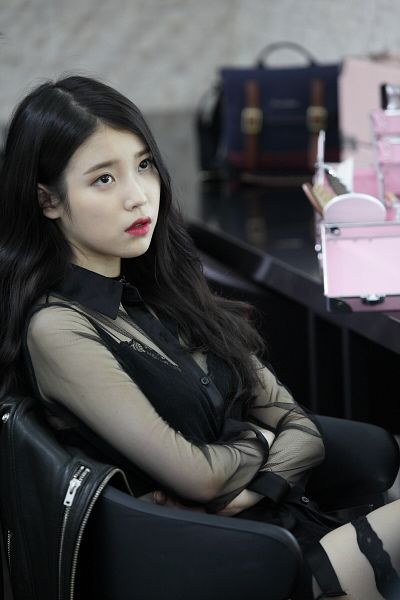 Tags: K-Pop, K-Drama, IU, Red Lips, See Through Clothes, Crossed Arms, Korean Text, The Producers