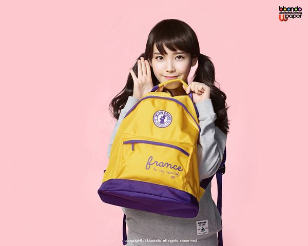 Tags: K-Pop, IU, Bag, Backpack, Pink Background, Twin Tails, Le Coq Sportif