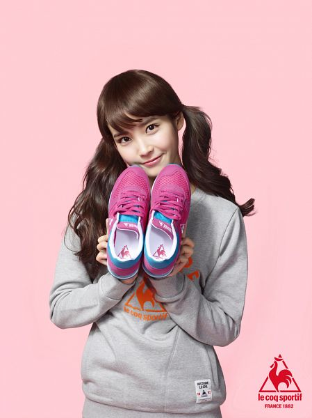 Tags: K-Pop, IU, Twin Tails, Gray Shirt, Shoes, Pink Background, Android/iPhone Wallpaper, Le Coq Sportif