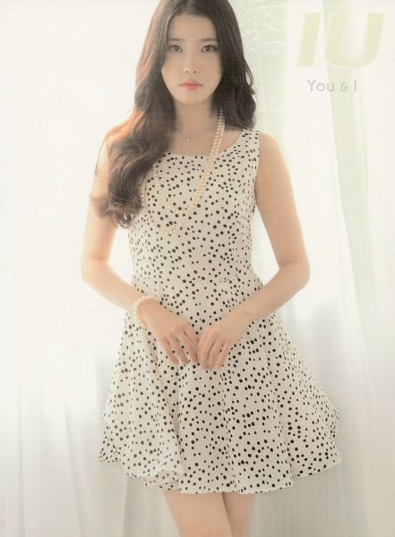 Tags: K-Pop, You & I, IU, Necklace, Bracelet, Spotted Dress, Curtain, Spotted, Text: Artist Name, Text: Song Title, Serious, Scan