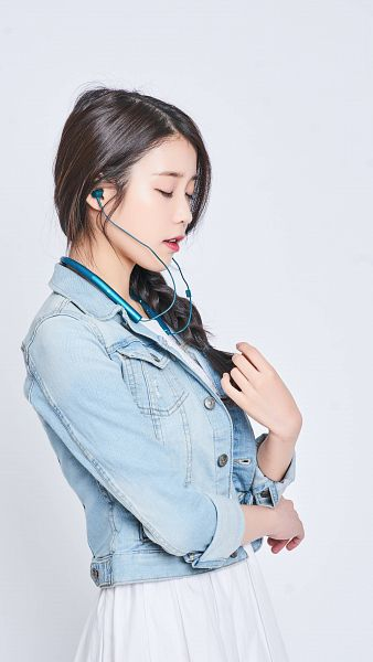 Tags: K-Pop, IU, White Dress, Single Braid, Earbuds, Eyes Closed, Blue Jacket, White Outfit, Braids, Light Background, Blue Outerwear, Red Lips