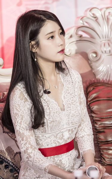 Tags: K-Pop, IU, Lace, Sitting On Couch, Red Lips, White Dress, Necklace, Couch, White Outfit, Android/iPhone Wallpaper