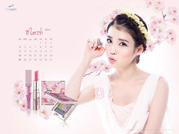 Tags: K-Pop, IU, Bare Shoulders, Crown, Sleeveless Dress, Flower, Flower Crown, Text: Calendar Date, White Outfit, Pink Background, Make Up, Hair Ornament