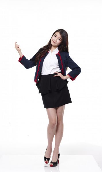Tags: K-Pop, IU, Skirt, White Background, Full Body, Black Outerwear, Black Skirt, Hand On Hip, Bare Legs, Black Jacket, High Heels, Black Footwear