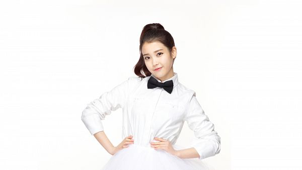 Tags: K-Pop, IU, White Background, Bow, Hand On Hip, Black Bow, Hair Up, Bow Tie, White Skirt, Ponytail, Skirt, Light Background