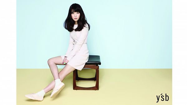 Tags: K-Pop, IU, White Dress, White Footwear, Blue Background, Socks, Crossed Legs, White Outfit, White Border, Make Up, Full Body, HD Wallpaper