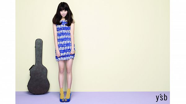 Tags: K-Pop, IU, Blue Footwear, Guitar, Blue Dress, Holding Skirt, Blue Outfit, White Border, Socks, Text: Brand Name, Yellow Legwear, High Heels