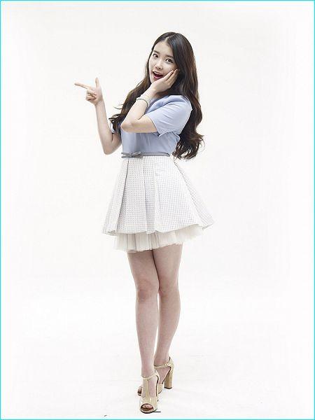 Tags: K-Pop, IU, Sandals, Bracelet, White Skirt, Hand On Cheek, Skirt, Short Sleeves, Light Background, Crossed Legs (Standing), White Background, Hand On Head