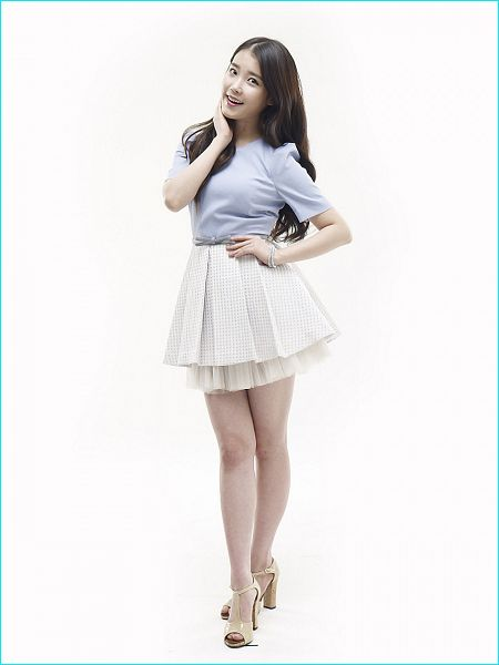 Tags: K-Pop, IU, Skirt, Short Sleeves, White Background, Crossed Legs (Standing), Hand On Hip, Hand On Neck, Blue Shirt, High Heels, Sandals, Bracelet