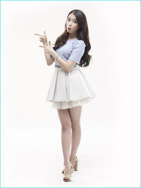 Tags: K-Pop, IU, Bracelet, Sandals, Skirt, White Skirt, Light Background, Short Sleeves, White Background, High Heels, Blue Shirt, Lemona