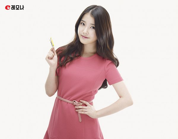 Tags: K-Pop, IU, Belt, Korean Text, Red Outfit, Light Background, Short Sleeves, White Background, Hand On Hip, Red Dress, Lemona