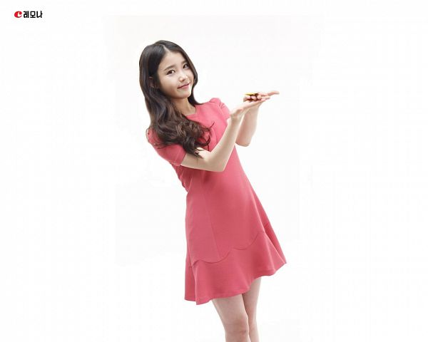 Tags: K-Pop, IU, Short Sleeves, White Background, Red Dress, Korean Text, Red Outfit, Light Background, Lemona