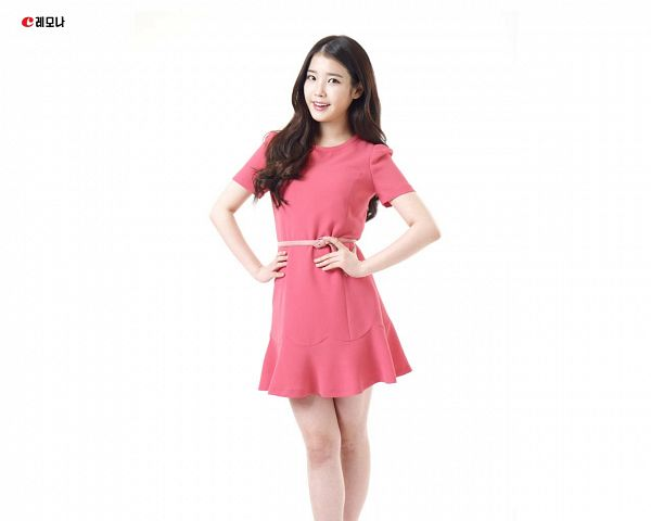 Tags: K-Pop, IU, Hand On Hip, Red Dress, Korean Text, Red Outfit, Light Background, Short Sleeves, White Background, Lemona