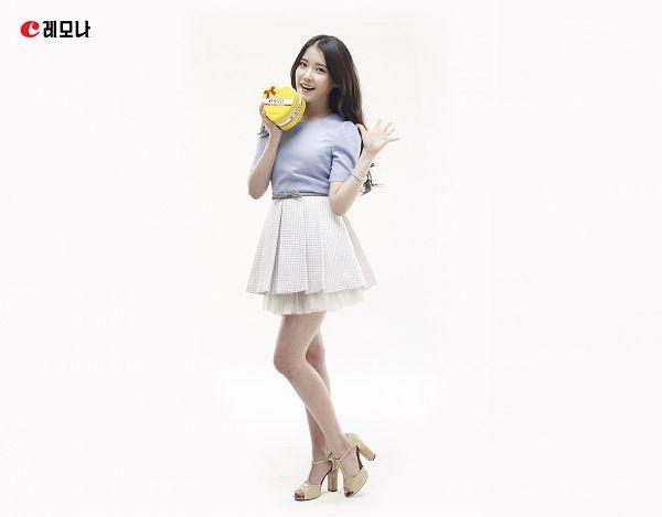 Tags: K-Pop, IU, Light Background, White Skirt, White Background, High Heels, Blue Shirt, Bracelet, Box, Skirt, Sandals, Lemona
