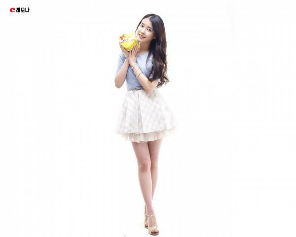 Tags: K-Pop, IU, Bracelet, Box, Skirt, Sandals, Light Background, White Skirt, White Background, High Heels, Crossed Legs (Standing), Blue Shirt