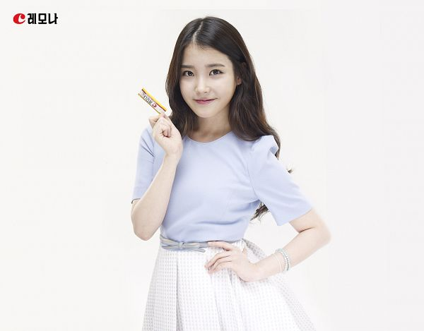 Tags: K-Pop, IU, Light Background, White Skirt, White Background, Hand On Hip, Blue Shirt, Bracelet, Skirt, Box, Lemona