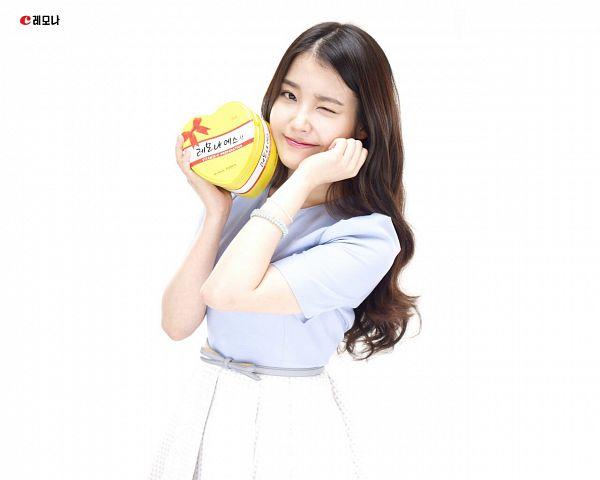 Tags: K-Pop, IU, White Skirt, White Background, Wink, Blue Shirt, Bracelet, Skirt, Box, Light Background, Lemona