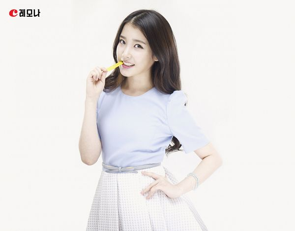 Tags: K-Pop, IU, Skirt, Box, Light Background, White Skirt, White Background, Hand On Hip, Blue Shirt, Bracelet, Lemona
