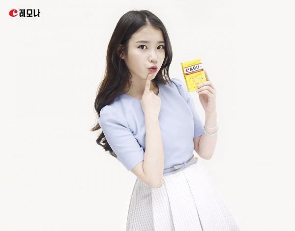 Tags: K-Pop, IU, Blue Shirt, Skirt, Box, Light Background, White Skirt, White Background, Bracelet, Lemona