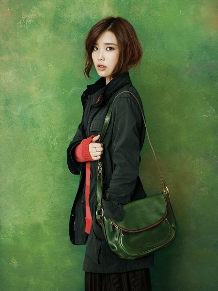 Tags: K-Pop, IU, Coat, Striped, Green Background, Striped Shirt, Bag, Hand In Pocket, Green Outerwear, Red Shirt, Ring, Ysb