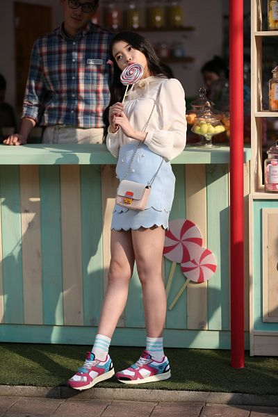 Tags: K-Pop, IU, Sneakers, Candy, Blue Skirt, Lollipop, Socks, Bag, Full Body, Covering Mouth, Skirt, Looking Away
