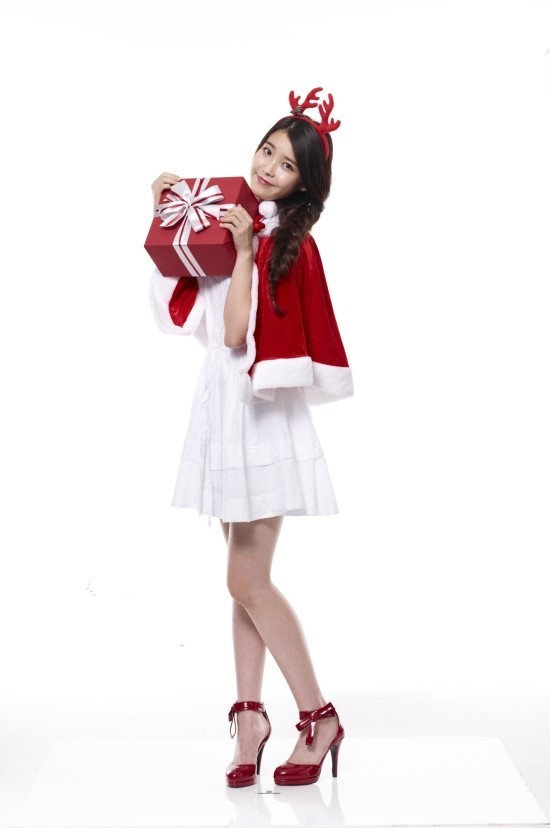 Tags: K-Pop, IU, White Dress, Red Footwear, Antlers, Christmas, High Heels, Braids, Light Background, Horns, Hat, White Background