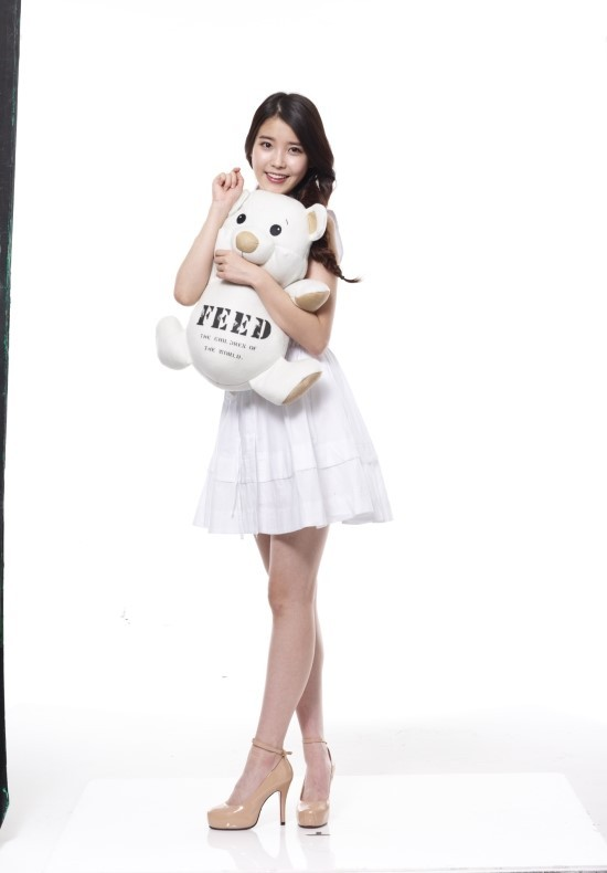 Tags: K-Pop, IU, High Heels, Braids, White Background, Brown Footwear, Full Body, Bare Shoulders, Stuffed Toy, White Dress, Single Braid, White Outfit