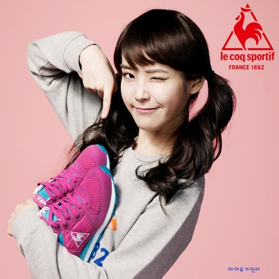Tags: K-Pop, IU, Wink, Shoes, Pink Background, Twin Tails, Le Coq Sportif