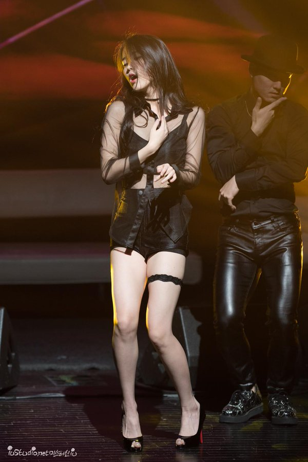 Tags: K-Pop, IU, Eyes Closed, Garter Belt, Hand On Chest, Shoes, Bare Legs, Leather Pants, Shorts, Choker, Leather Shorts, High Heels