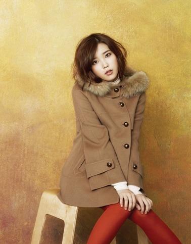 Tags: K-Pop, IU, Head Tilt, Fur, Fur Trim, Red Legwear, Yellow Background, Coat, Ysb