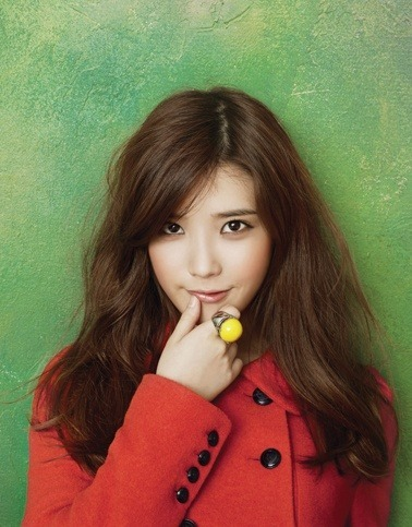 Tags: K-Pop, IU, Green Background, Red Outerwear, Finger To Lips, Coat, Ysb