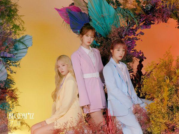 Tags: K-Pop, IZ*ONE, Choi Yena, Jo Yuri, Kim Chaewon, Text: Album Name, Single Bun, Blue Outerwear, Blonde Hair, Pink Jacket, Pink Outerwear, Belt