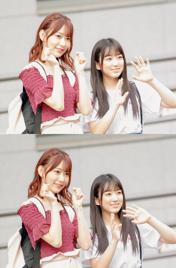 Tags: K-Pop, J-Pop, IZ*ONE, HKT48, Yabuki Nako, Miyawaki Sakura, Heart Gesture, Bag, Gray Background, Wave, Two Girls, Red Shirt