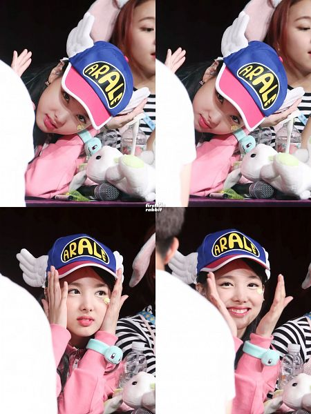 Tags: K-Pop, Twice, Im Nayeon, Hat, Dark Background, Blue Headwear, Bracelet, Hand On Hat, Striped Shirt, Striped, Multiple Persona, Looking Away